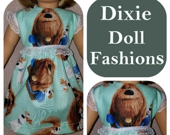 American Handcrafted 18 inch girl Doll Clothes by Dixie ! Cute Dogs Party Dress II