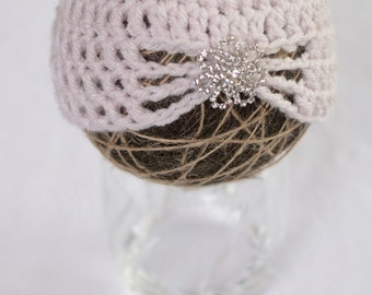 Ready to Ship!  Preemie Crochet Jeweled Beanie, Crochet Hat, Crochet Beanie, Baby Girl Hat