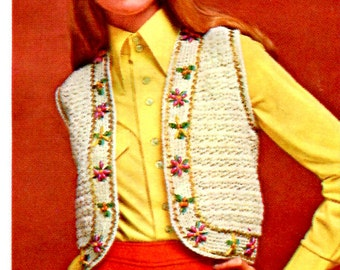 1960's Gypsy Bolero Length Vest with Floral Edging Crochet PDF Pattern Instant Download