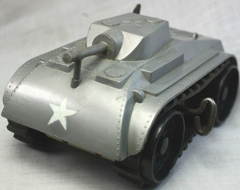 Marx Wind Up Climbing Fighting Tank 1960's-Military Vehicles