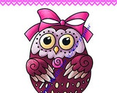 Berry Sweet Owl DIGITAL STAMP Download - Carmen Medlin for SCACD