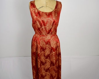 Vintage Red & Gold Dress/ Large