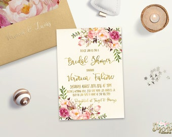 Charming Floral Bridal Shower Invitation Printable Boho Bridal Shower Invite  Romantic Bridal Party Invite Faux Gold Foil