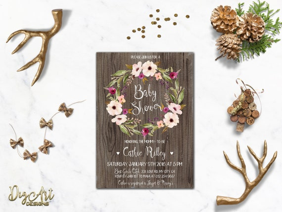 Floral Baby Shower Invitation Printable Rustic Baby Shower Invite Boho Baby Shower Spring Baby Shower Printable Girl Baby Shower Party