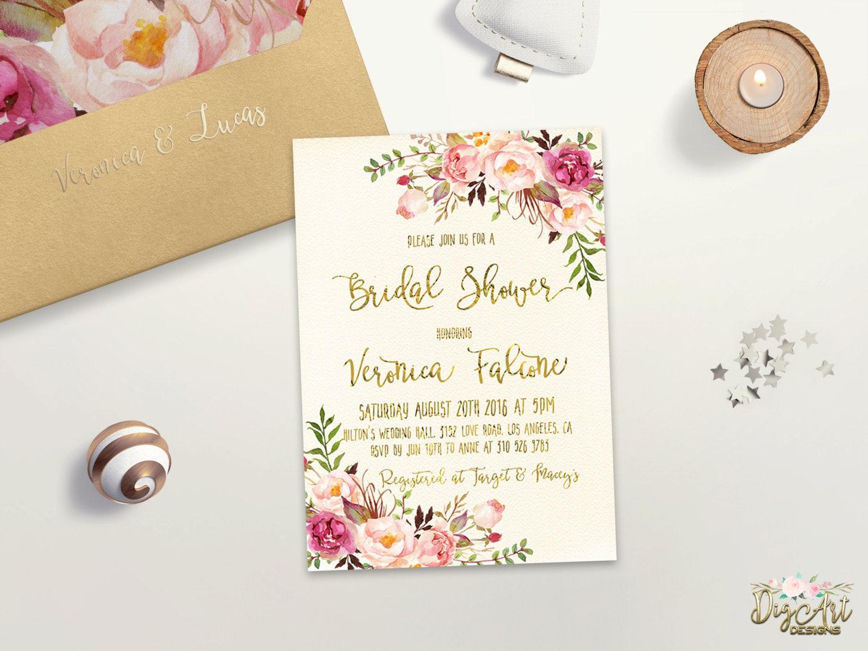 Floral bridal shower invitation printable boho bridal shower for Flower bridal shower invitations