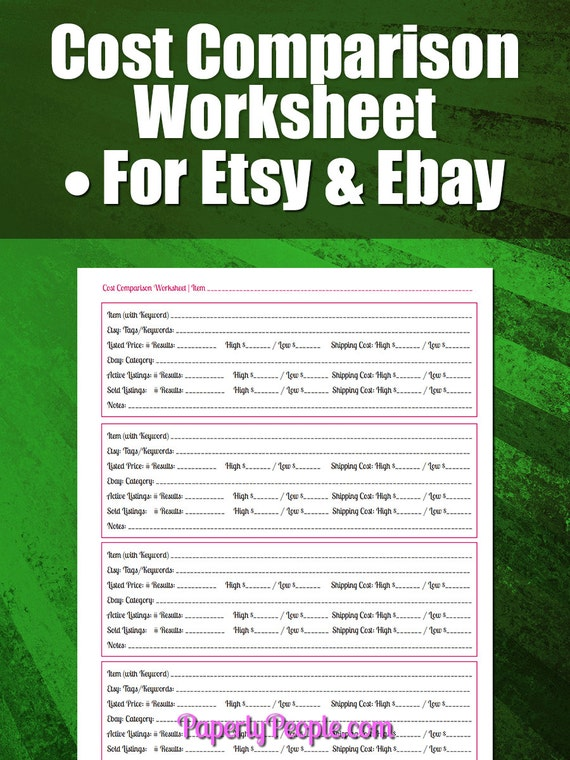 cost comparison worksheet and video walkthrough for etsy and. Black Bedroom Furniture Sets. Home Design Ideas