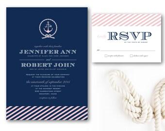 Printable Nautical Wedding Invitation, DIY Wedding Invitation, Nautical Rope Invitation, Anchor Wedding Invitation, Navy Blue & Pink