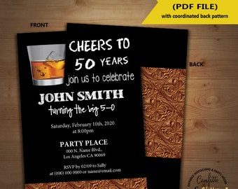 Cheers to party birthday invitation adult party whiskey drink invite Instant Download self editable text printable invite 5184