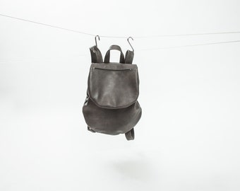 Stylish Dark Gray Leather Backpack for Women, Small Mini Backpack, City Bag, Minimalist Backpack, Leather Rucksack