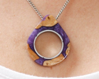 NEW - Purple - Raindrop/Teardrop Necklace - Wood and Resin Jewelry - Gift For - Raindrop Necklace