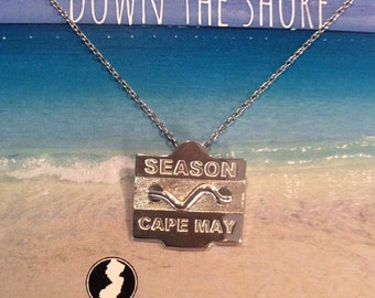 Cape May - Jersey Shore Sterling Silver Beach Badge Necklace