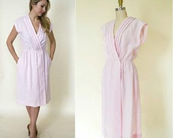 1980s wrap dress. deep v neck party dress. vintage 80s linen blush pink sundress with pockets. medium