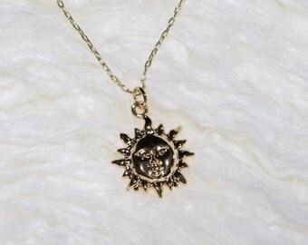 Gold Moon Necklace / Dainty Necklace / Petite Necklace / Minimalist