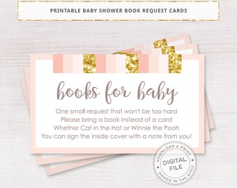 Baby shower book request cards, pink and gold baby shower, books for baby,  pink and gold polka dots, gift request insert, printable DIGITAL