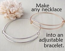 Silver and Gold Adjustable Bangle Bracelet - Alex and Ani Style Jewelry - Charm Bracelet