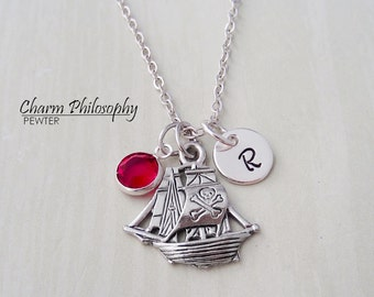 Pirate Ship Necklace - Personalized Monogram Initial and Birthstone - Antique Silver Pewter Jewelry