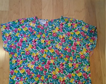Vintage polyester floral boxy blouse