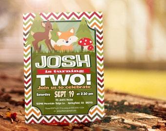 Woodland Animals Birthday Invitation - Personalized Printable DIGITAL FILE - Deer, Fox Birthday Invite