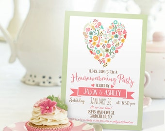 Pink & Sage Green Housewarming Invitation - Personalized Printable DIGITAL FILE - Housewarming Party Invitation