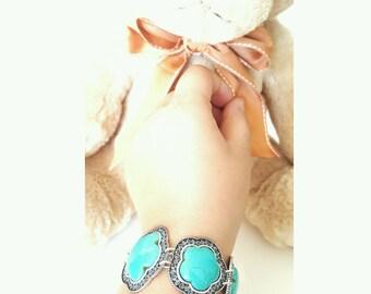 Turquoise link bracelet, link bracelet, turquoise bracelet
