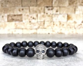 White Gold Plated Skull Bracelet, Mens Skull Bracelet, Man Bracelet, Bracelet For Men, Gold Skull Bracelet, Onyx Bracelet, Gift For Him