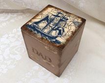 Father's Day Gift, Men's Desk Box, Bathroom Storage, Cufflink Keepsake Box, Nautical Ship Rustic Shabby Trinket Box, Gift For Dad, Watch Box