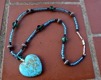 Necklace Heart Turquoise Stone and Glass Necklace