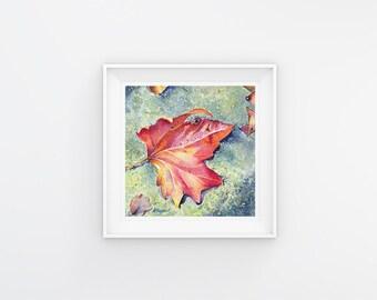 5x5 Leaf Print of Original Little Leaf 3 Fine Art Watercolor Painting, Home Decor, Wall Art, Gift Ideas