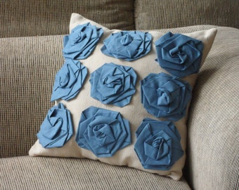 Throw Pillow, blue rosette throw pillow, french country decor, decorative pillow, flower, canvas, cottage chic