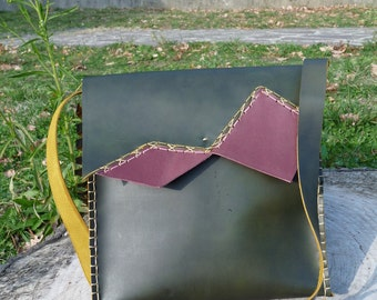 "Handmade Leather Bag, ""logic"""