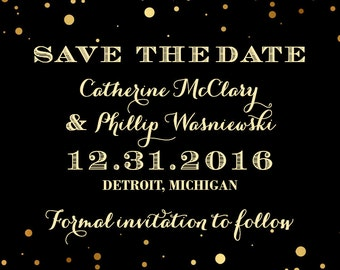 Gold Dots Glitzy Glam Save the Date