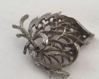 Vintage CORO brooch, silver tone branched flourish