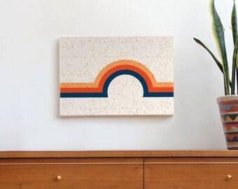 mid century modern art, geometric art print, minimal art, canvas print, retro art, rainbow print, 70s, vintage decor, speckle