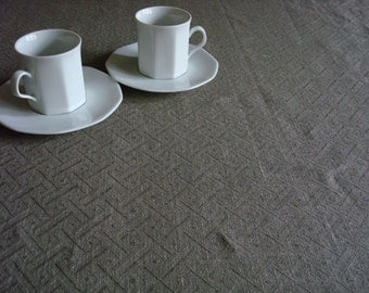 Gray Jacquard LINEN TABLECLOTH vintage look linen tablecloth square rectangle wedding linen for table
