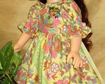 """18"""" Floral doll dress and hat, short doll dress and hat, yellow floral doll outfit, beaded doll dress and hat"""