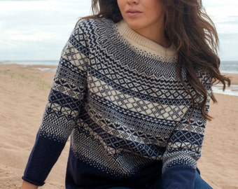"""Ladies fair isle """"lace"""" tunic jumper sweater pullover - navy blue"""