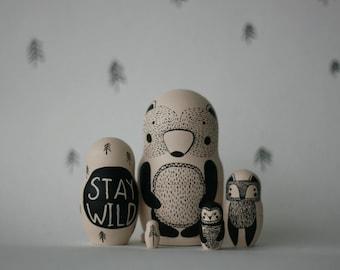 STAY WILD Set Of 5 Black And White Wooden Handpainted Russian Nesting Dolls  / Matryoshka Dolls