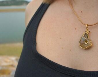 Ammolite necklace, fossil jewelry, shell necklace, boho