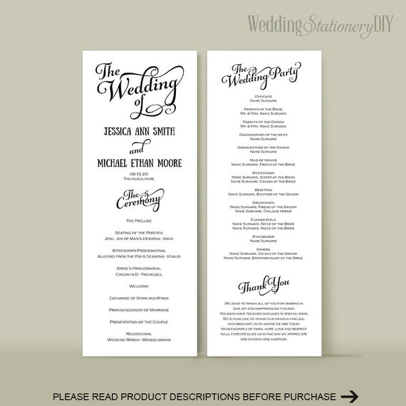 wedding program diy wedding program templates reception. Black Bedroom Furniture Sets. Home Design Ideas