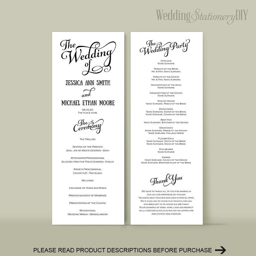 Wedding Reception Program: Wedding Program Diy Wedding Program Templates Reception