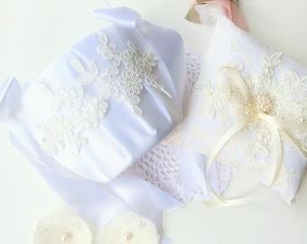 Ring Bearer Pillow Set, Flower Girl Basket Set, Wedding Ring Pillow, Ring Bearer Pillow, Ring Bearer, Lace Ring Pillow, Ring Cushion,