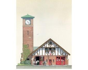 Fire Station Art, Hall 32, Quebec St. CNE, Toronto // Fire Hall, Tudor, Fire House, Firefighter Gift, Toronto Art, Toronto History, Horse