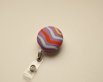 Colorful Waves Kawaii Retractable ID Badge Reel - FREE SHIPPING with another purchase - Name Badge, Tag, Nurse , Teacher Badge Holder
