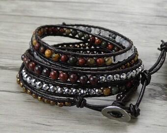 Leather wrap bracelet 5 wraps bracelet boho wrap bracelet gypsy stack bead bracelet bohimian bracelet bead Leather bracelet Jewelry SL-0331