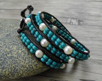 Boho pearl wrap bracelet Turquoise pearl bracelet Freshwater pearl bracelet leather wrap bracelet Pearl leather bracelet Jewelry SL-0374