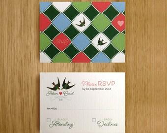 Printable RSVP Personalised Wedding Cards. Love Bird Wedding Stationary Suite.