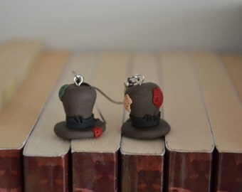 Ragamuffin patched Top Hat  Earring
