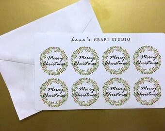 Merry Christmas Wreath Envelope Seals