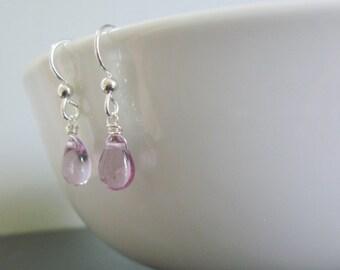 Purple Silver Earrings, Lilac Sterling Silver Earrings, Delicate Earrings, Dainty Violet Earrings, Glass Drop Earring, Earrings Under 20
