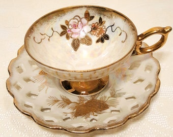 Vintage Japan Pearlescent Gold Lusterware Tea Cup & Saucer